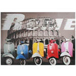 Multicoloured Motorbikes in Rome Picture on Linen Canvas 50 x 70