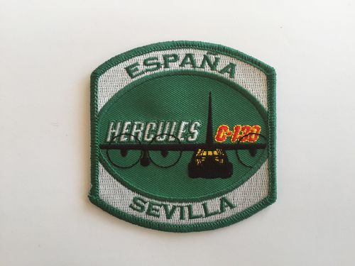 Embroidered patch C-130 Hercules SEVILLA green. Iron sticky back