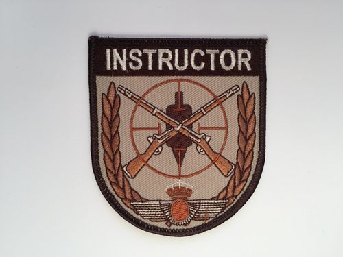 Embroidered patch INSTRUCTOR TIRO E.A. brown. Iron sticky back