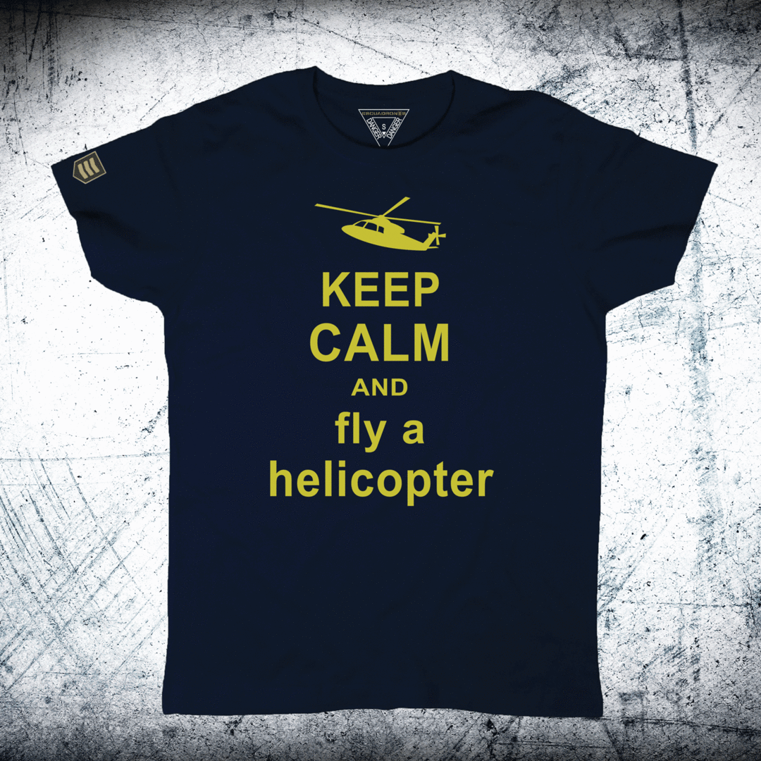 Camiseta KEEP CALM AND FLY AND HELICOPTER