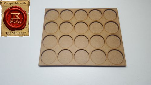 Movement tray for 20 miniatures with 25mm round base