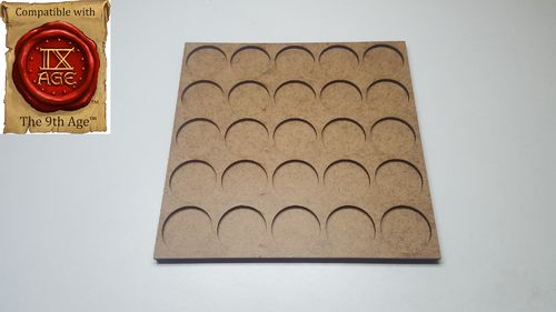Movement tray for 25 miniatures with 25mm round base