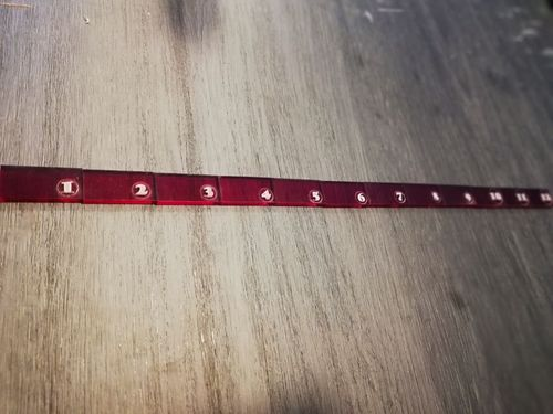 12-inch ruler in red methacrylate