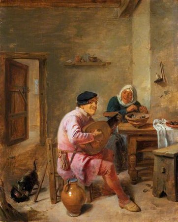 Adriaen Brouwer. Interior of a Room with Figures, A Man Playing the Lute, and a Woman\\n\\n01/11/2011 00:09