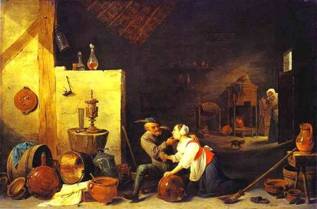 David Teniers the Younger An old peasant caresses a kitchen maid in a stable\\n\\n01/11/2011 00:03