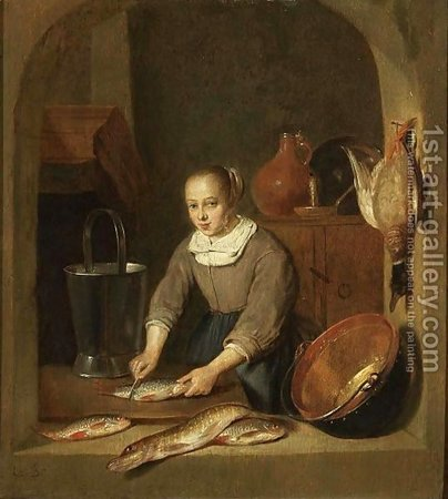 Quiringh Gerritsz. van Brekelenkam. A-Maid-Scaling-Fish-Seen-Through-A-Window\\n\\n01/11/2011 00:20