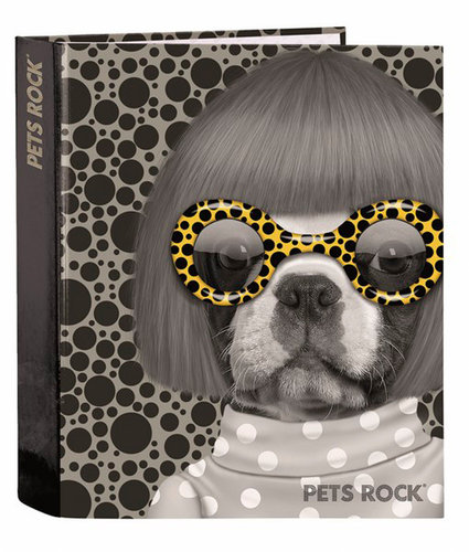 "PETS ROCK CARPETA FOLIO 4 ANILLAS LOMO ANCHO ""SPOTS"""