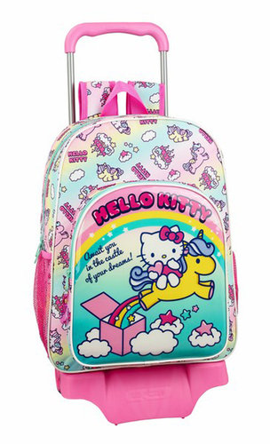 "HELLO KITTY MOCHILA 42CM ""CANDY UNICORNS"" C/CARRO"