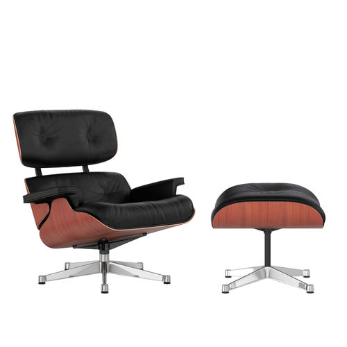 Lounge Chair + Ottoman VITRA Cherry Leather Chrome