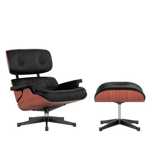Lounge Chair + Ottoman VITRA Cherry Leather Black