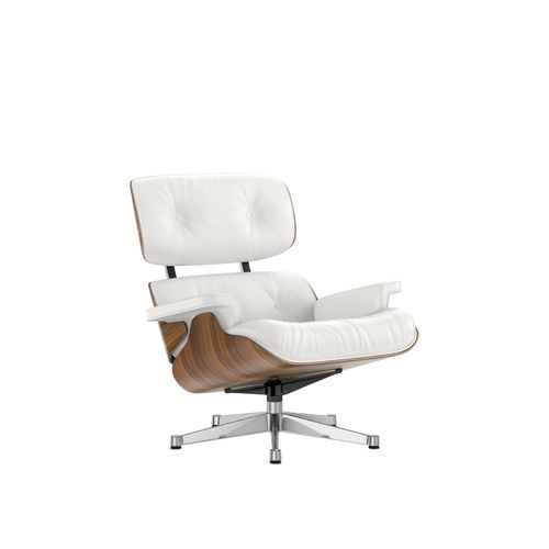 Lounge Chair VITRA Walnut Leather Base Chrome