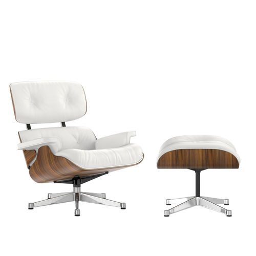 Lounge Chair + Ottoman VITRA Walnut Leather Chrome