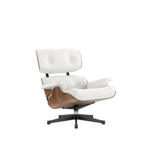 Lounge Chair VITRA Walnut Leather Base Negro