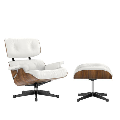 Lounge Chair + Ottoman VITRA Walnut Leather Black