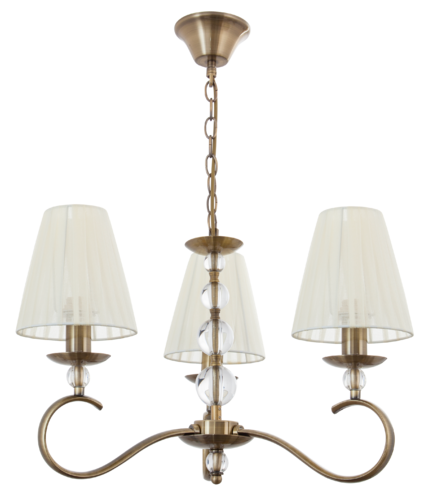 Lampara Serie Alabama Beige/cuero 3 luces